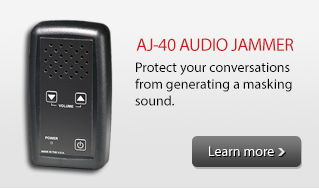 Keep your private conversations private! The AJ-40 RECHARGEABLE AUDIO JAMMER protects your sensitive room conversations by generating a unfilterable masking sound which desensitizes any near-by microphones.